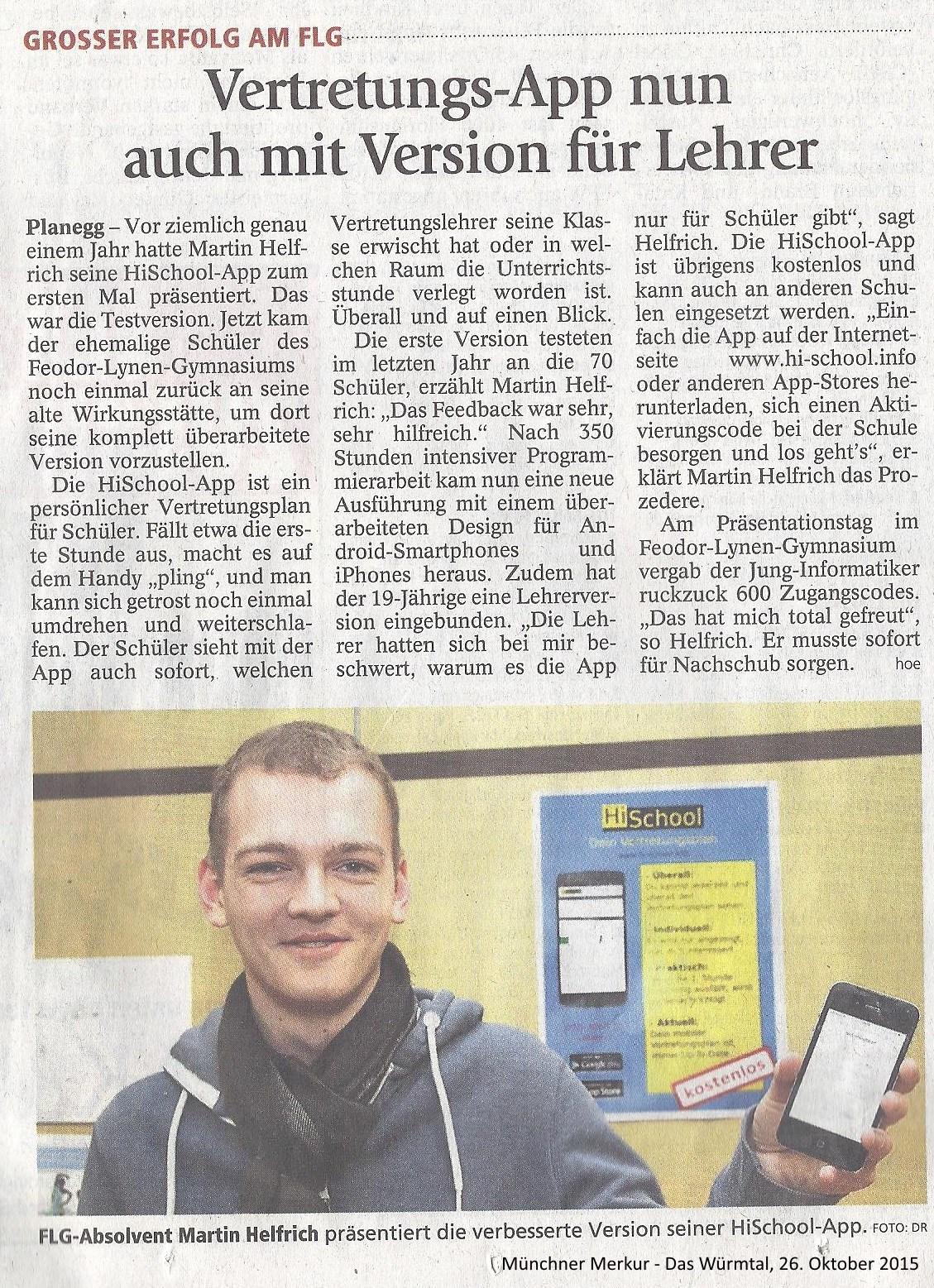 """Artikel über den Release / die Veröffentlichung der App """"HiSchool - dein Vertretungsplan"""" von Münchner Merkur 26.10.2015"""